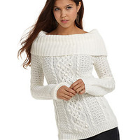 JJ Basics Juniors Sweater, Long Sleeve Popcorn Marilyn Cable Knit - Juniors Sweaters - Macy's