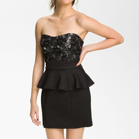 Trixxi Lace Peplum Dress (Juniors) | Nordstrom