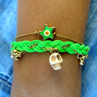 Green skull bracelet set with an neon starfish evil eye Halloween bracelet day of the dead istanbul jewelry arabic best friend  birthday