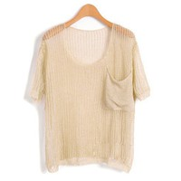 Nude Knit Tops with Oversized Pocket