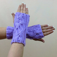 Purple Fingerless Gloves Knit Cable Pattern Ribbed Lavender
