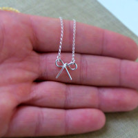 Tiny Sterling Silver Bow Necklace Simple Minimalist Jewelry bridesmaid gifts Girlfriend gift