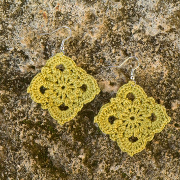 Pendant Earrings, Handmade Crochet Earrings, Lime yellow earrings, Lace geometric earrings