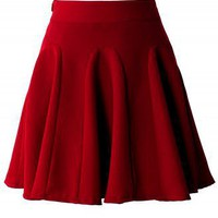 Red High Waist Skater Skirt - New Arrivals - Retro, Indie and Unique Fashion
