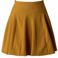 Mustard High Waist Skater Skirt  - New Arrivals - Retro, Indie and Unique Fashion