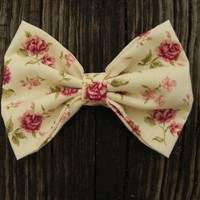 Big Cream Rose Bow by Little Lady Boutique