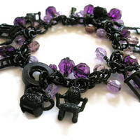 Charm Bracelet purple beaded  Gothic Victoria  chairs birdcage telphone keys style Black  chain jewelry