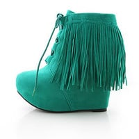 Fringe Fest Wedge Booties | Trendy Shoes at Pink Ice