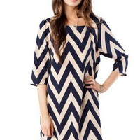 Forever Zig Zag Shift Dress in Vintage Nautical - ShopSosie.com