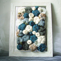 Shabby chic fabric flower framed art 3D design home decor - blue grey white - OOAK spring bouquet