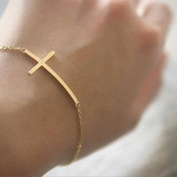 Sideways Cross Bracelet - Gold Plated