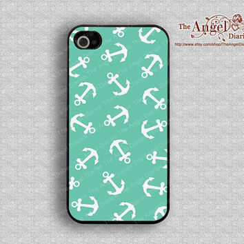 Mint green and anchor iPhone 4 Case, iPhone 4s Case, iPhone 4 Hard Plastic Case, iPhone Case