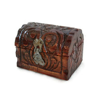 Old hand carved wood PIRATE TREASURE CHEST ornate brass latch, hinged vintage wooden box - Nautical jewelry case & rustic trinkets holder