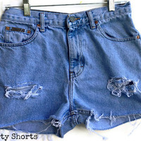 High Waisted Jean Shorts Light Wash Denim Shorts Size 10-11