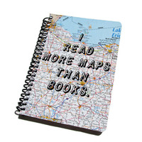 Travel Journal Map Notebook Vacation Diary Recycled / Upcycled State Roadmap Travel Log Wanderlust
