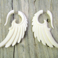 Fake Gauges Earrings Bone Earrings Wings White Angel Tribal Earrings - Gauges -FG002 B