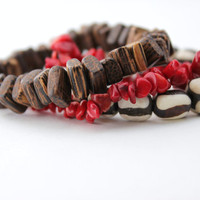 beaded bracelet set red coral wood and bone stretch bracelet set chunky bracelet natural beads indie tribal