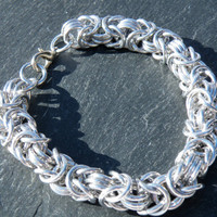 Byzantine Chainmaille Bracelet - Bright Aluminium
