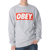 Obey Box Logo Grey Crew Neck Sweatshirt
