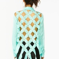 Studded Diamond Blouse - Mint