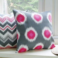 Decorative Pillow Covers Pink and Grey Ikat Chevron 20x20 Set of 2