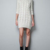 CABLE KNIT MAXI-SWEATER - Dresses - Woman - ZARA United States