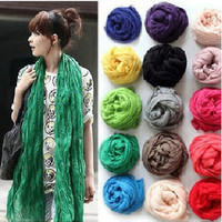 New Women's Long Crinkle Scarf Wraps Shawl Stole Pure Color Soft