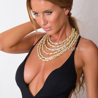 Fabric Weave Chain Layered Necklace | Xenia Boutique