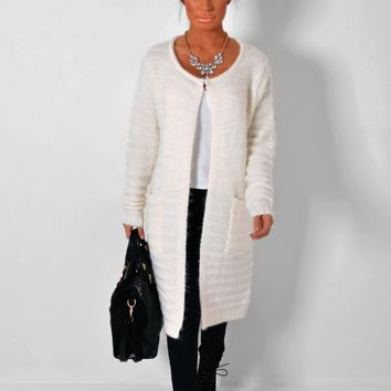 Keats Cream Sparkle Knitted Maxi Cardigan   Pink Boutique