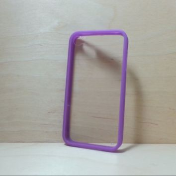For Apple iPhone 4 / 4s Purple Silicone Bumper and Clear Hard Plastic Back Case