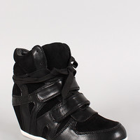 Leatherette and Suede Lace Up Wedge Sneaker