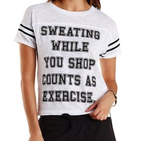 Exercise Graphic Varsity Tee by Charlotte Russe - White/Black