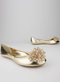 beaded flower flat $19.80 in GOLD SILVER - Flats | GoJane.com