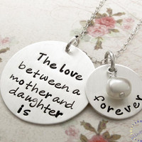 Hand Stamped Necklace, Mother & Dau.. on Luulla