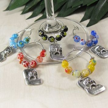 Wine Glass Markers with Millefiori Glass Beads, Engagement Ring Charms