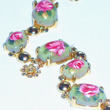 Light Green Bracelet Rose Victorian Hand Paint Romantic Floral Bracelet