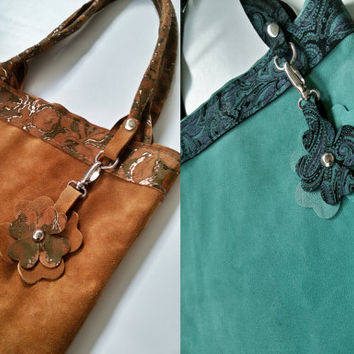 Spring in coming! Handmade Suede Leather Shopping Bag