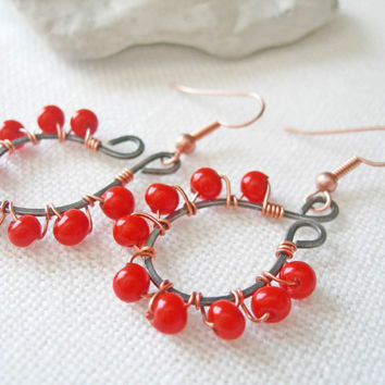 Bright Red Earrings Copper Mixed Metal Earrings Handmade Hammered Wire Earrings Red Glass Earrings Copper Wire Wrapped Earrings Red Bead