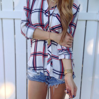 Navy + Red Plaid Flannel