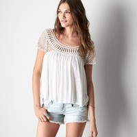 AEO Women's Crocheted Knit T-shirt (Chalk)