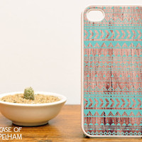 Mint Green Aztec iPhone Case over Wood Print - Aztec iPhone 4 Case - Geometric iPhone Case