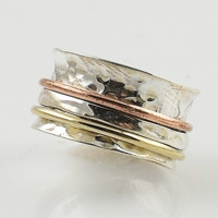 Spinner Ring - Hammered Sterling Silver Three Tone - keja Jewelry