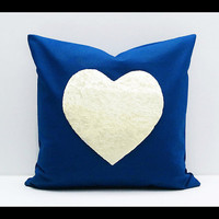 FREE SHIPPING - Rainbow Heart Collection : ONE 16x16 inch Handmade Decorative pillow Covers - Hand sewing - Dark Blue - Make to Order -