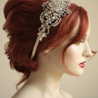 Vintage inspired bridal headpiece Handbeaded by bridalcouture
