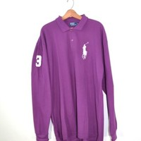 Men's POLO RALPH LAUREN Custom Fit Big Pony Long Sleeve Rugby Shirt 4X