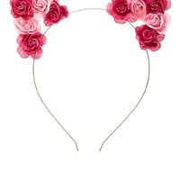 Two-Tone Rose Cat Ears Headband by Charlotte Russe - Pink Combo