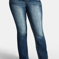 Plus Size - Denim Flex™ Contrast Stitch Slim Boot Jeans - Medium Sandblast