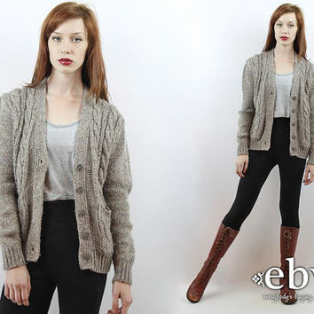 Vintage 80s Taupe Puff Sleeve Cardigan S M Cable Knit Sweater Vintage Cardigan Vintage Sweater Vintage Jumper Hipster Cardigan Wool Cardigan