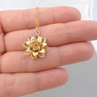 Gold Flower Necklace - Gold Filed Chain - simple everyday wear Necklace - Cutest Little Gold lotus -simple,dainty jewelry