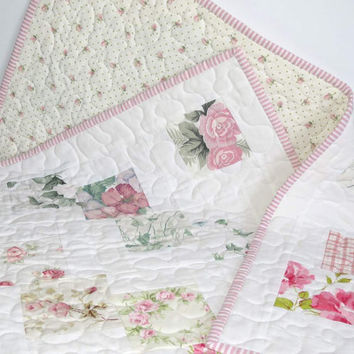 Baby or Lap Quilt, Up-cycled Vintage Sheets